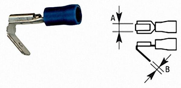 Flachsteckhülse mit Abzweigung halbisoliert, 2,5mm², 6, 3 x 0, 8mm Farbe blau, VPE = 100 Stück