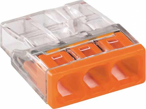 Verbindungsdosenklemmen 3-Leiter-Klemmen, orange 2273-203 / VPE 100 Stück