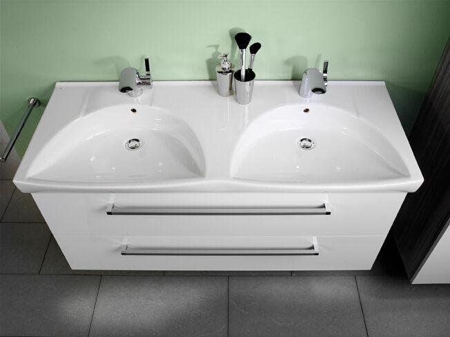 7100412 K3 Keramik Doppel Waschtisch 122/7/52 weiß
