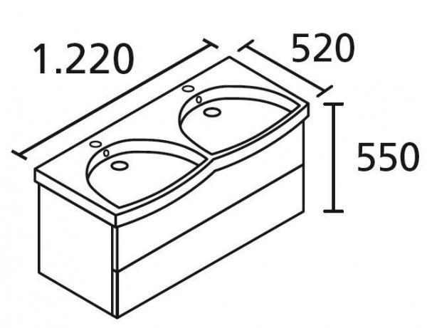 LANZET 7109812 K3 Doppel-Waschtischunterschrank: 118/48/43,5 Weiß/Grafit, 2 Schubladen