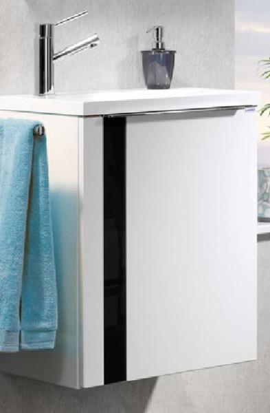 LANZET 7273412 VEDRO Waschtischunterschrank: + Becken 49x60x32 rechts weiß/schwarz, 1 Tür