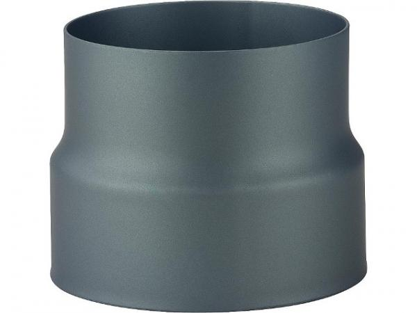 lackierte Reduzierung, schwarz, DN150 Muffe auf DN130 Sicke