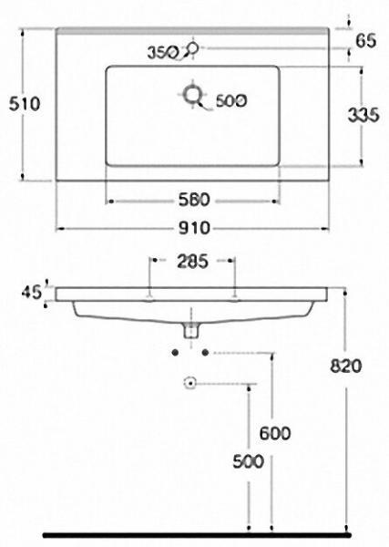 EVENES Waschtisch TRENDY BxHxT:910x115x510mm mit 1 Hanhloch