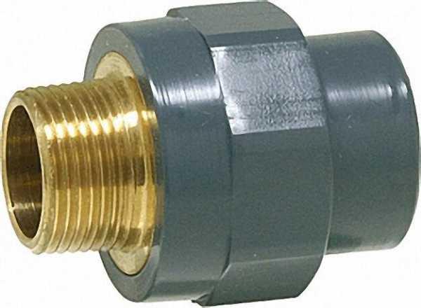PVC-U - Klebefitting Übergangs-Muffennippel, 50mm x 1 1/2'', AG, Rotguß vernickelt
