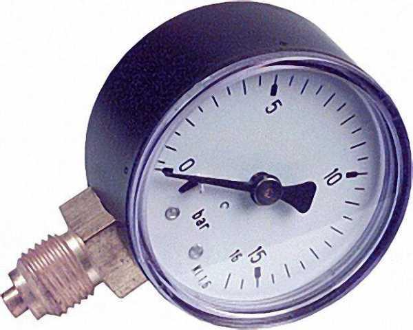 RF Manometer 50 radial 0-16 bar, Anschluss 1/4'' radial (unten)