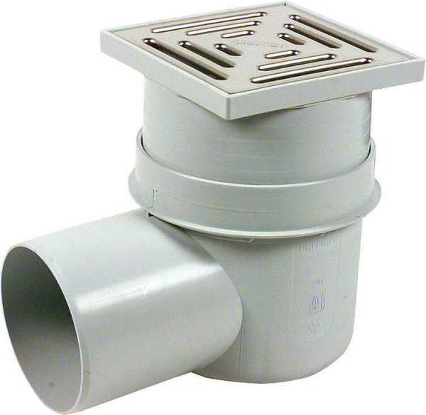 Kellerablauf 150x150mm mit 90mm Aufsatz DN 100 waagerecht, Kunststoffrost, nach DIN 19599/EN 1253