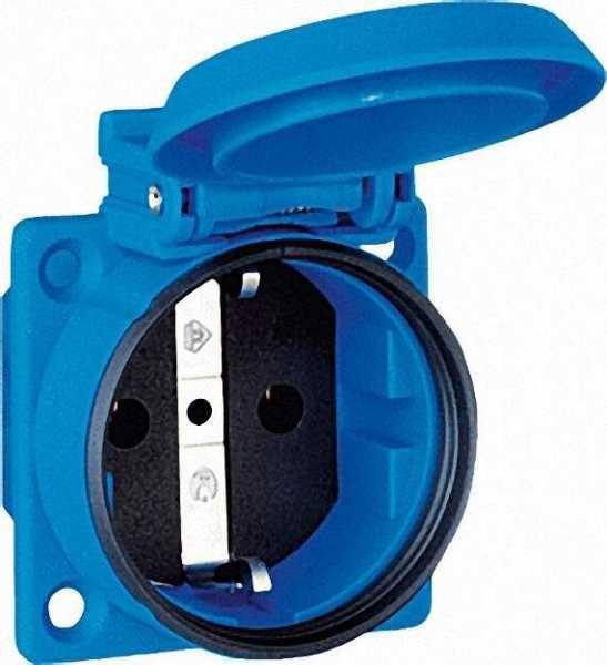 Einbau-Schuko-Steckdose blau, IP54, Flanschbefestigung