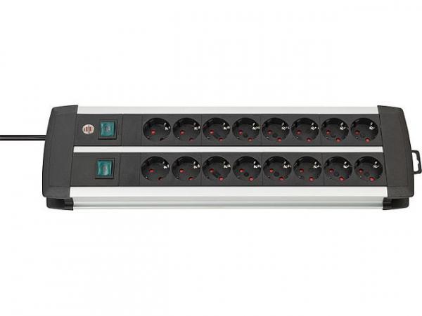 15-fach Steckdosenleiste Premium Duo-Alu-Line
