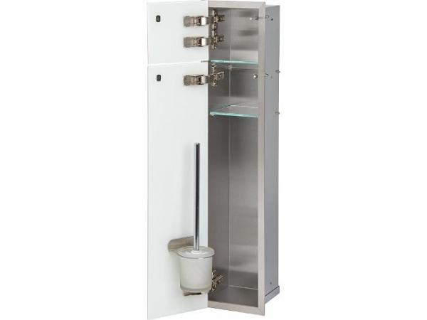 WC Wandcontainer Unterputz, 2 weiße Glastüren, 1 Papierrollenfach, 1 Leerfach, BxH: 180x825 mm, Anschlag links, Einbaucontainer Wandnische E