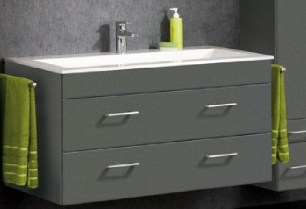 LANZET 7152712 P5 Waschtischunterschrank: 118/60/55, Grafit/Grafit, 2 Schubladen