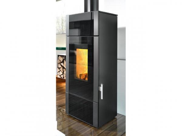 Buderus Kaminofen Giro water+, 8 kW, Glas Dekor black, Stahl black, 7736660092