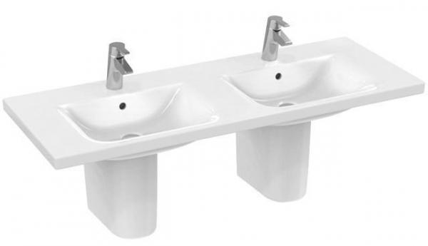 IDEAL STANDARD E813601 CONNECT Möbeldoppelwaschtisch 130 x 49 cm, weiß, 2 Hahnlöcher