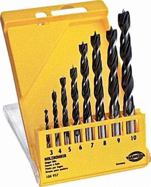 Holzspiralbohrer-Set D= 3, 4, 5, 6, 7, 8, 9, 10mm 8-teilig in Kunststoffkassette