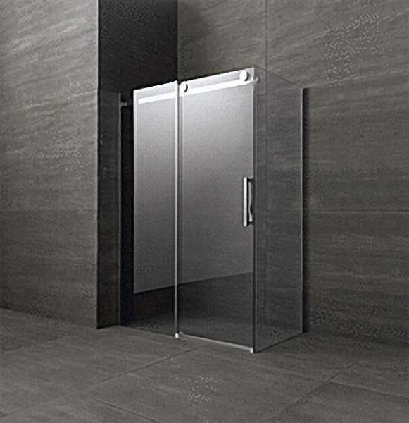 Duschkabine mit Seitenteil, Tür+Seitenteil links, Fixteil rechts, 1400x890x2000mm, Sicherheits-Glas