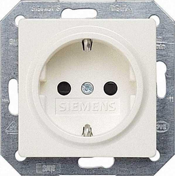 SCHUKO-Steckdose aluminiummetallic/ Schutzart IP20 mit Berührungs/Kinderschutz/1 Stück