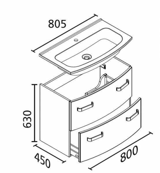 LANZET 7228512 S2 Waschtischunterschrank:, 80X63X45cm, Pin/Pin, 2 Schubladen