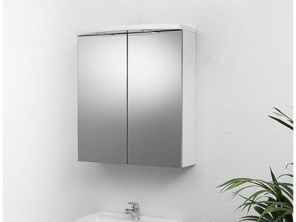 Spiegelschrank mit Beleuchtung weiß Hochglanz 2 Türen 700x798x205/340