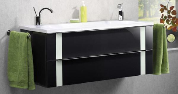 LANZET 7272712 VEDRO Waschtischunterschrank: + Becken 119x48x49 Grafit/mint, 2 Schubladen