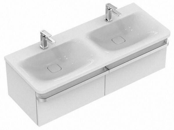 IDEAL STANDARD K087401 Tonic II Doppelwaschtisch, weiß 120 x 50 cm, ohne Überlauf