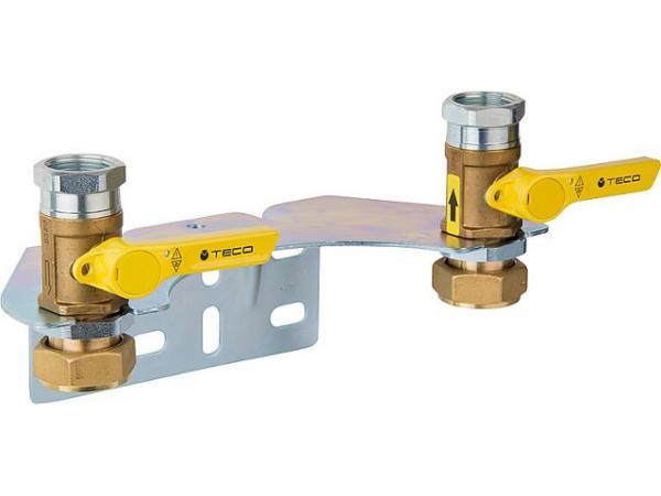 Montageset für Gaszweirohrzähler mit Verschraubung zum Anschluss von Gaszähler