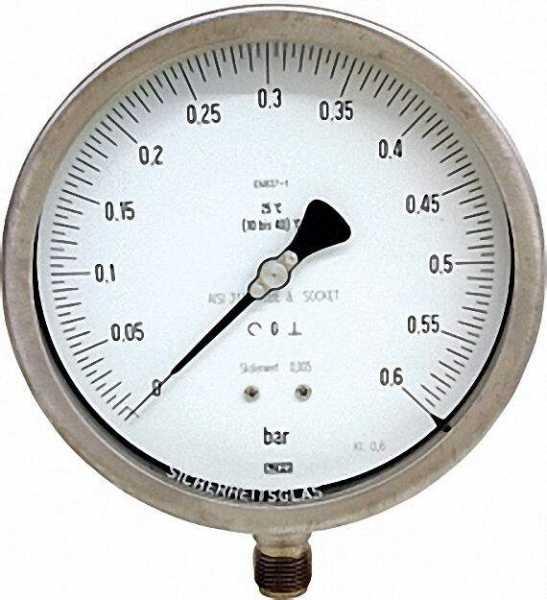 Manometer feinmechanisch, 0-25bar, 160 mm für G1/2