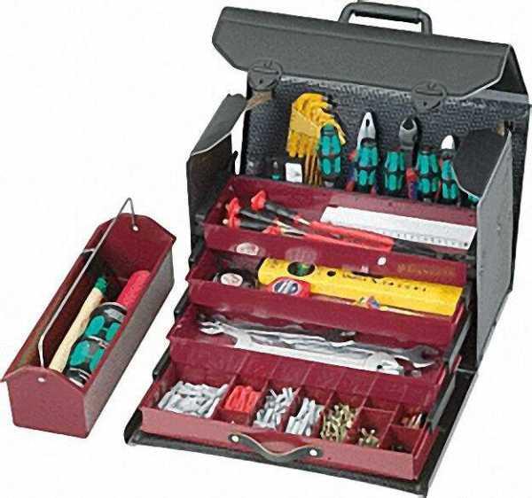 Werkzeugtasche mit Schublade 410x190x280mm 4-teilig, schwarz 43,000-561