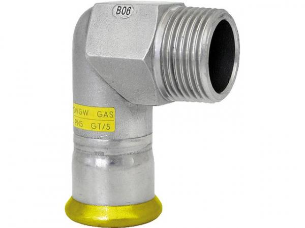 Edelstahl Pressfitting Gas Übergangswinkel 90° mit AG, 18x1/2