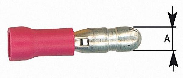 Rundstecker halbisoliert bis 1,5mm², 4,0mm Farbe rot, VPE = 100 Stück