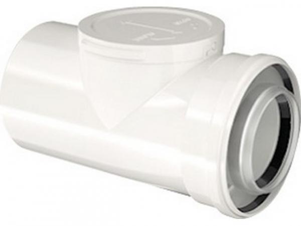 Buderus Konzentrisches Rohr, Prüföffnung, Ø 80/125 mm, weiß, 250 mm, 7738112666