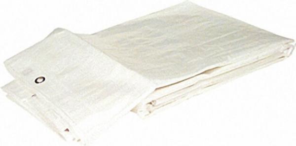 Gewebeplane aus HDPE-Bändchen- gewebe 160 g/qm mit Rand + Ösen 6 x 10m Farbe: weiß