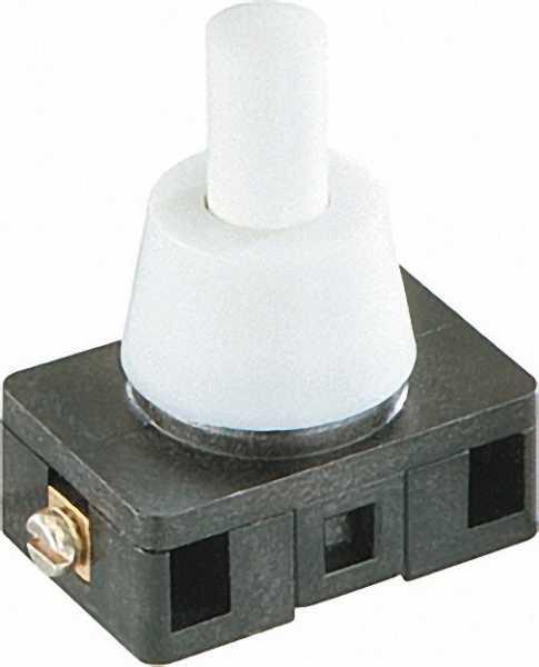 Druckknopfschalter 6(2)A, 250V, 1-polig weiß / 1 Stück