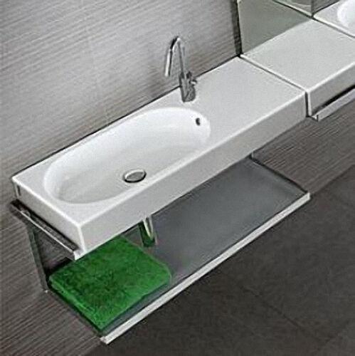 Waschtisch, Waschbecken AREA aus Keramik mit 1 Hahnloch, versetzt, weiß, BxHxT:900x110x350mm