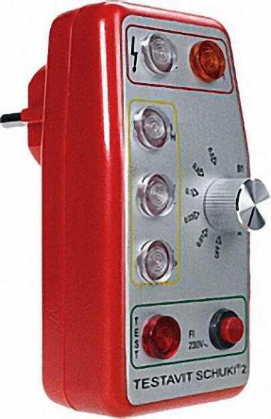 TESTBOY Testavit Schuki 2 Steckdosenprüfgerät mit FI-Tester 10 - 500 mA, inklusive Bereitschaftstasc