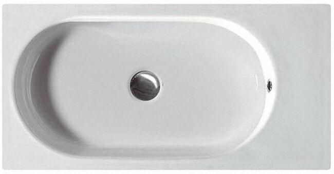 Waschtisch, Waschbecken AREA aus Keramik mit 1 Hahnloch, weiß, BxHxT:7