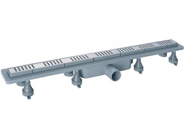Duschrinne Basicflow Squares aus ABS, Einbauhöhe ab 70 mm, L- 700 mm, 900x250 mm