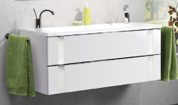 LANZET 7272312 VEDRO Waschtischunterschrank: + Becken 119x48x49 weiß/mint, 2 Schubladen