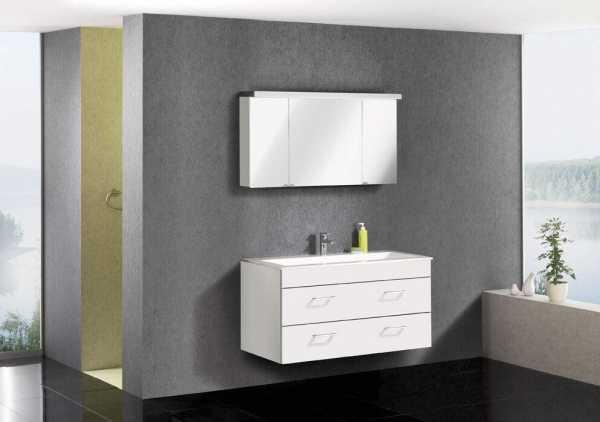LANZET 7152312 P5 Waschtischunterschrank: 118/60/55, Weiß/Weiß, 2 Schubladen