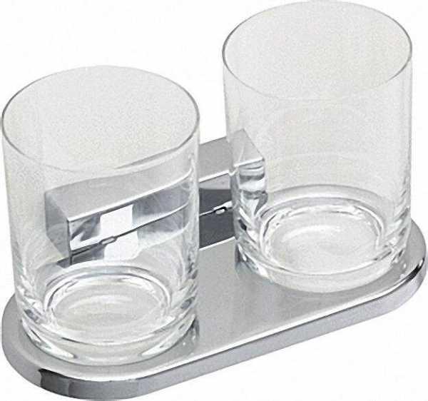 Doppelglashalter Iris² mit Bleikristallglas verchromt
