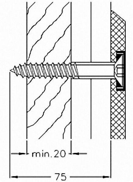 Montageset für Stützgriff und Duschklappsitze der Serie Cavere an Leichtbauwänden, 4 Schrauben 10x90