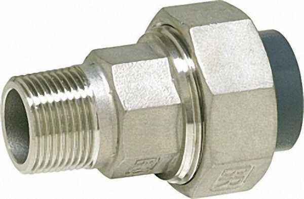 PVC-U - Klebefitting Rohrverschraubung PVC-U/V2A, 20mm x 1/2'', AG