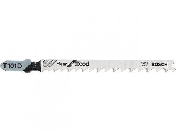 Stichsägeblätter BOSCH T101D Länge 100mm für saubere gerade Schnitte in Holz, VPE 5 Stück