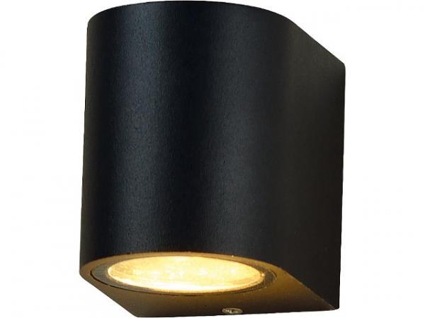 LED Außenleuchte Lichtaustritt oben/unten,rund, GU10 Sockel, IP54, schwarz matt