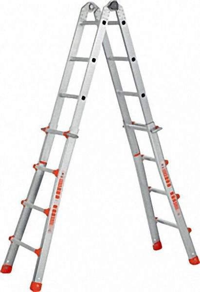 Teleskopleiter 4 x 5 Sprossen Industrieausführung mit Dreipunktsicherheitsgelenk
