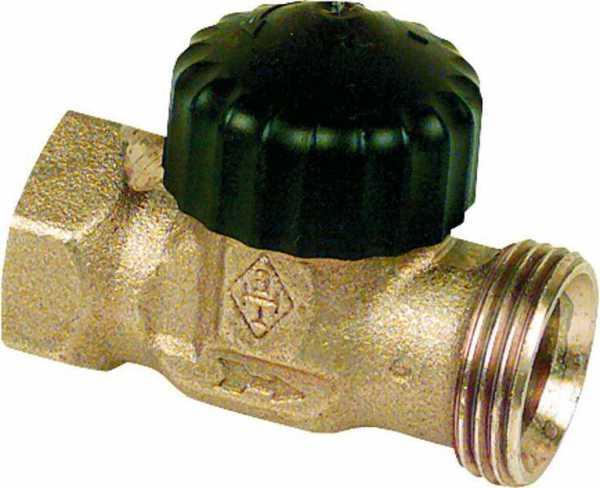 Vorlauf-Regulierventil DN 15 mit Thermostat Oberteil, Anschl. RP 1/2 IG ohne Handregulierkappe