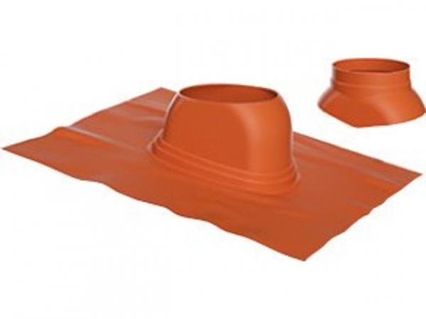 Buderus Universal-Dachziegel, Ø 125 mm, 5 °–25 °, rot, Regenkappe, 7738112513