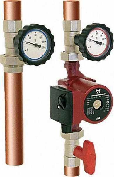 Heizkreisset 1'' vernickelt mit Überwurfmuttern und Thermometer rot/blau