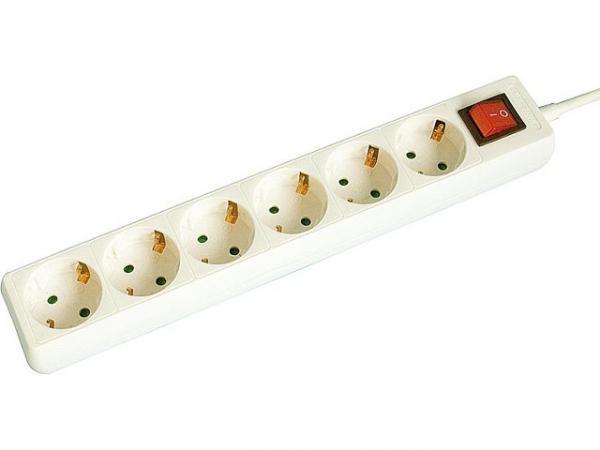 6-fach Steckdosenleiste mit Kontrollschalter Farbe weiß