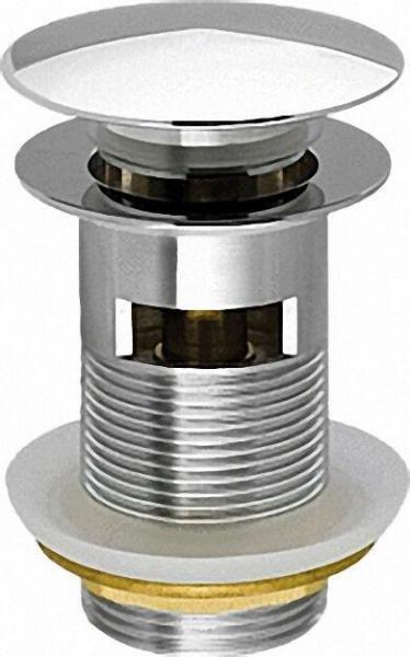 Schaftventil ''Klicker'' 1 1/4'', Messing verchromt, mit Überlauf Abdeckplatte 64mm