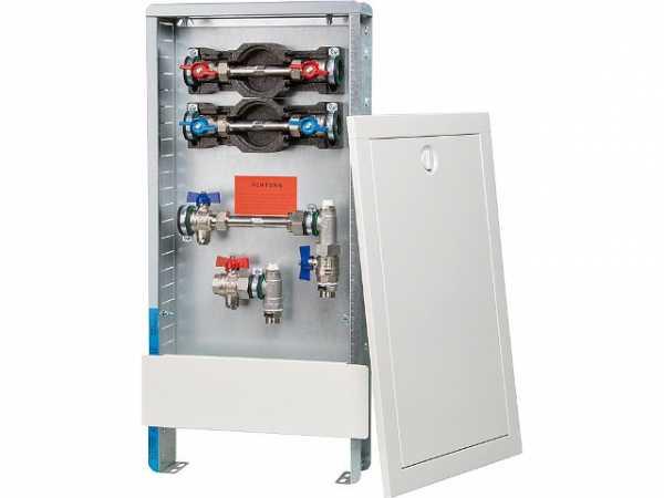 Wärmezähleranschlussstation Strawa vert. Typ AS13h W2-WMZ ST weiß,Standschrank, Maße=330x710mm