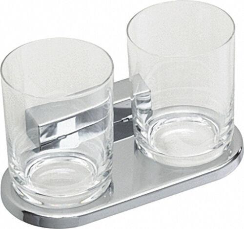 Doppelglashalter Iris² mit Kunststoffbecher verchromt